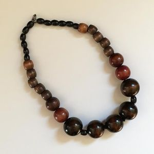 Vintage Wood Bead Necklace 1989